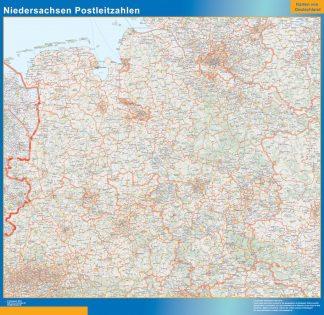 Carte Niedersachsen codes postaux affiche murale