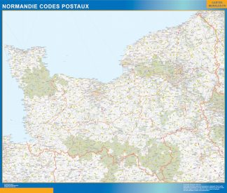 Carte Normandie plastifiée codes postaux affiche murale