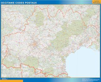 Carte OccitanIe plastifiée codes postaux affiche murale