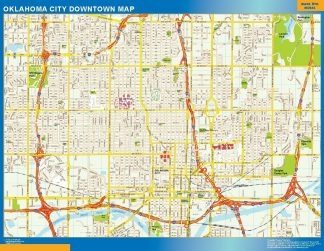 Carte Oklahoma City downtown affiche murale
