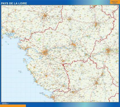 Carte Pays De La Loire affiche murale