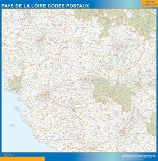 Carte Pays de la Loire plastifiée codes postaux affiche murale