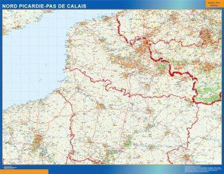 Carte Picardie Pas Calais affiche murale