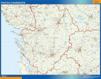 Carte Poitou Charentes affiche murale