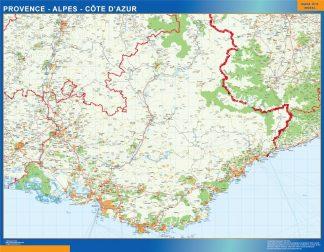 Carte Provence Alpes Cote Azur affiche murale