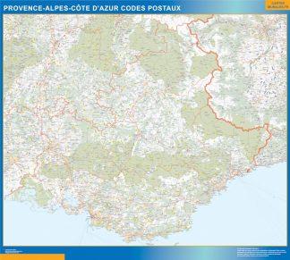 Carte Provence-alpes cote azur plastifiée codes postaux affiche murale