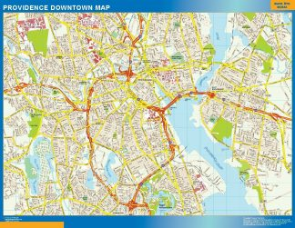 Carte Providence downtown affiche murale