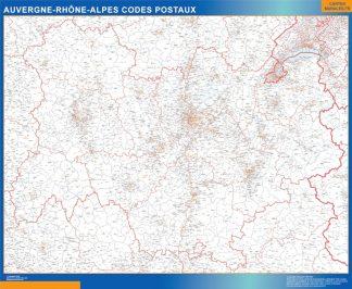 Carte Région Auvergne-Rhone-Alpes codes postaux affiche murale