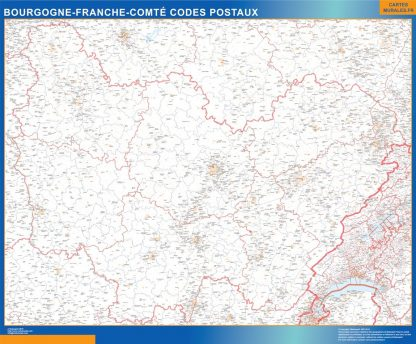 Carte Région Bourgogne Franche Comte codes postaux affiche murale