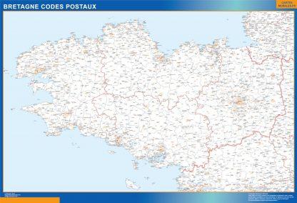 Carte Région Bretagne codes postaux affiche murale