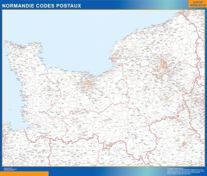 Carte Région Normandie codes postaux affiche murale