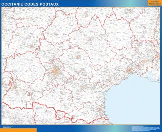 Carte Région OccitanIe codes postaux affiche murale