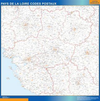 Carte Région Pays de la Loire codes postaux affiche murale