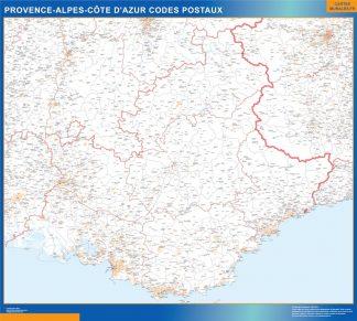 Carte Région Provence-alpes cote azur codes postaux affiche murale