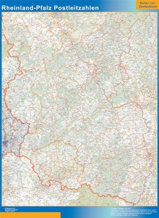 Carte Rheinland-Pfalz codes postaux affiche murale