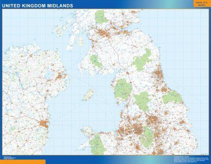 Carte Royaume Uni Midlands routières affiche murale