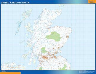 Carte Royaume Uni Nord routières affiche murale