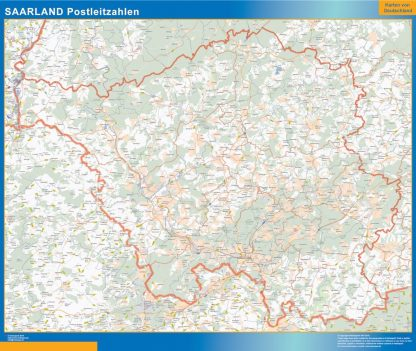Carte Saarland codes postaux affiche murale