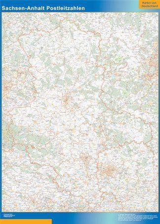 Carte Sachsen-Anhalt codes postaux affiche murale