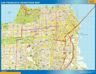 Carte San Francisco downtown affiche murale