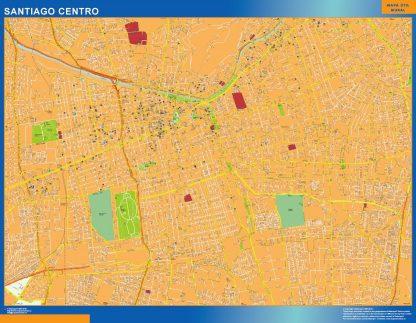 Carte Santiago de Chile Chili affiche murale