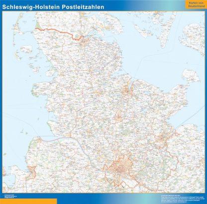 Carte Schleswig-Holstein codes postaux affiche murale