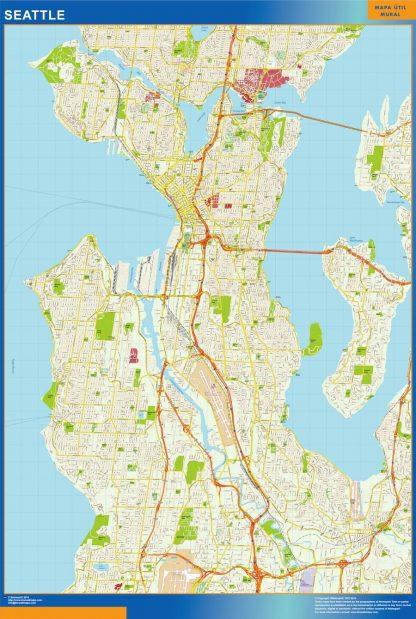 Carte Seattle affiche murale