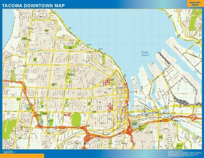 Carte Tacoma downtown affiche murale