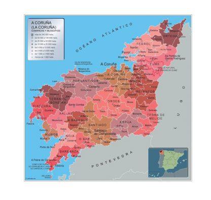 Carte communes province A Coruna affiche murale