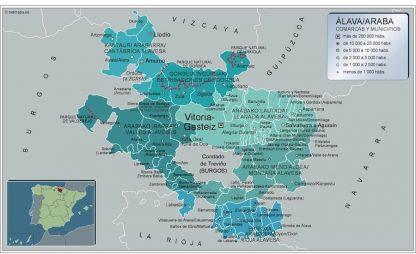 Carte communes province Alava affiche murale