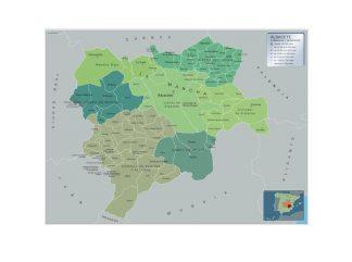 Carte communes province Albacete affiche murale