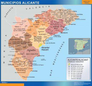 Carte communes province Alicante affiche murale