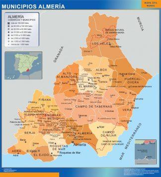 Carte communes province Almeria affiche murale