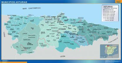 Carte communes province Asturias affiche murale