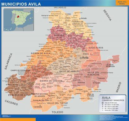 Carte communes province Avila affiche murale