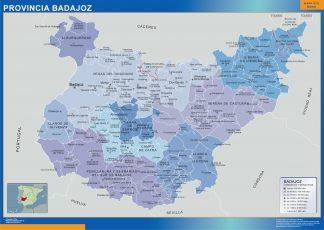 Carte communes province Badajoz affiche murale