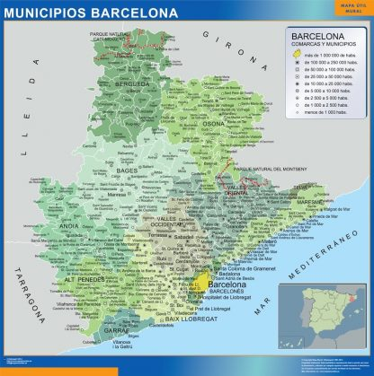 Carte communes province Barcelona affiche murale
