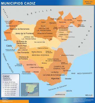 Carte communes province Cadiz affiche murale
