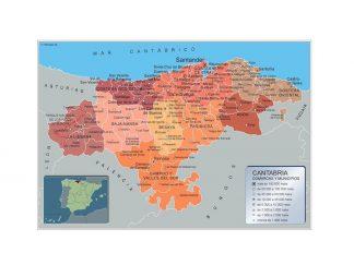 Carte communes province Cantabria affiche murale