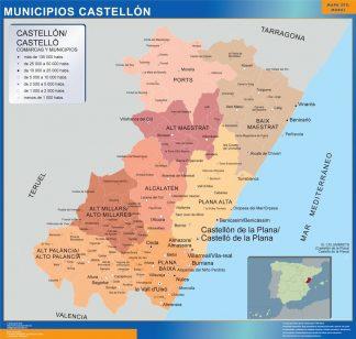 Carte communes province Castellon affiche murale