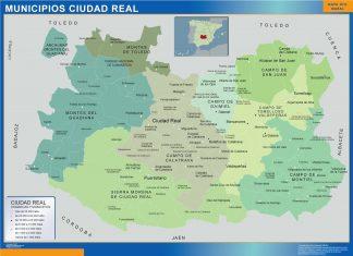 Carte communes province Ciudad Real affiche murale