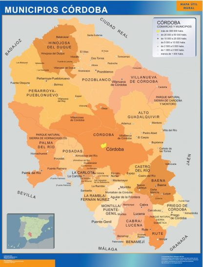 Carte communes province Cordoba affiche murale