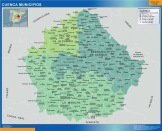 Carte communes province Cuenca affiche murale