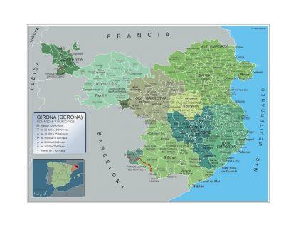 Carte communes province Girona affiche murale