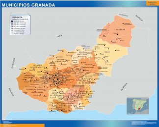 Carte communes province Granada affiche murale