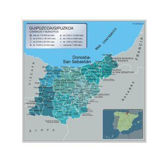 Carte communes province Guipuzcoa affiche murale