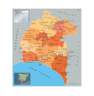 Carte communes province Huelva affiche murale