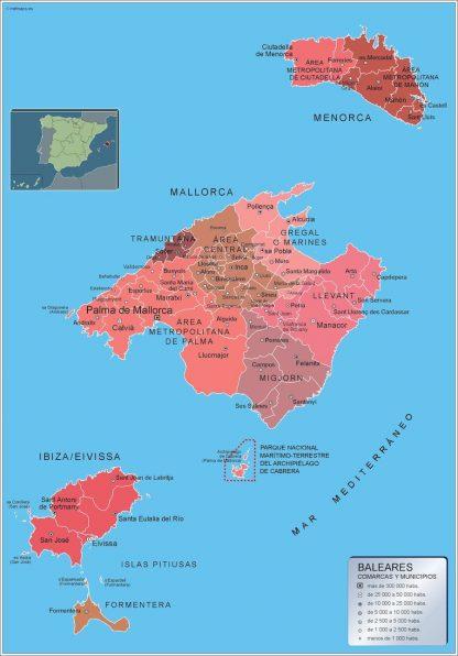 Carte communes province Islas Baleares affiche murale