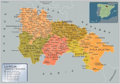 Carte communes province La Rioja affiche murale
