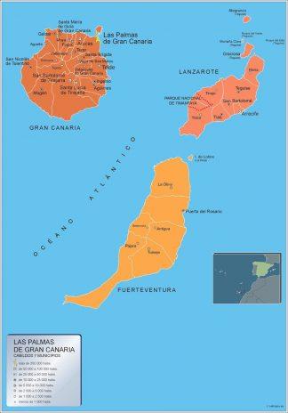 Carte communes province Las Palmas Gran Canaria affiche murale